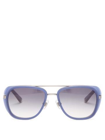 Matsuda - Aviator Titanium And Acetate Sunglasses - Mens - Silver