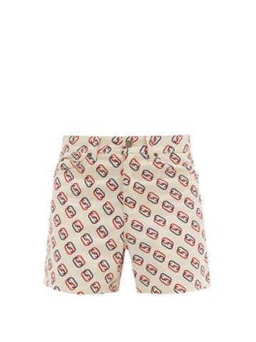 Matchesfashion.com Gucci - Gg Logo Print High Rise Cotton Twill Shorts - Mens - White Multi