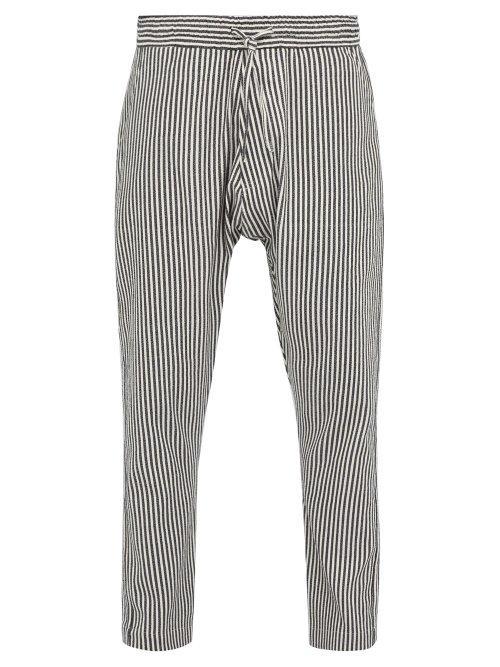 Matchesfashion.com Marrakshi Life - Striped Cotton Blend Trousers - Mens - Black Cream