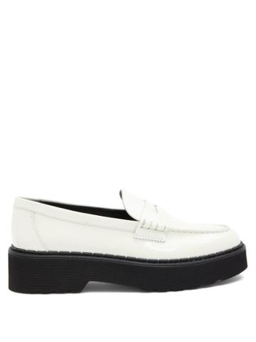 Matchesfashion.com Tod's - Flatform Patent-leather Penny Loafers - Womens - White
