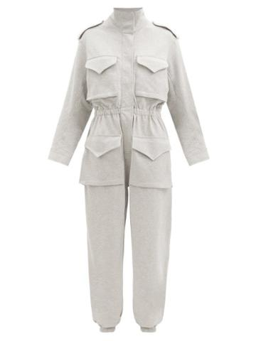 Matchesfashion.com Norma Kamali - Patch-pocket Cotton-blend Jersey Jumpsuit - Womens - Light Grey