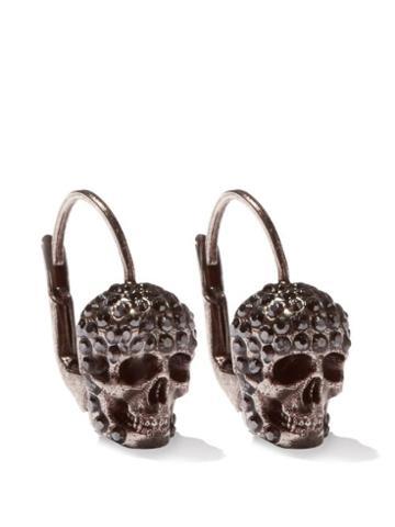 Matchesfashion.com Alexander Mcqueen - Crystal-pav Skull Earrings - Womens - Silver