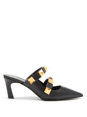 Matchesfashion.com Valentino Garavani - Upstud Studded Leather Mules - Womens - Black