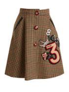 Miu Miu Hound's-tooth Embellished-appliqu Wool Skirt