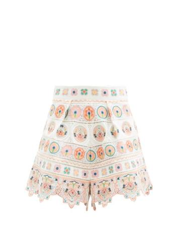Matchesfashion.com Zimmermann - Brighton Embroidered Cotton Shorts - Womens - Orange Print