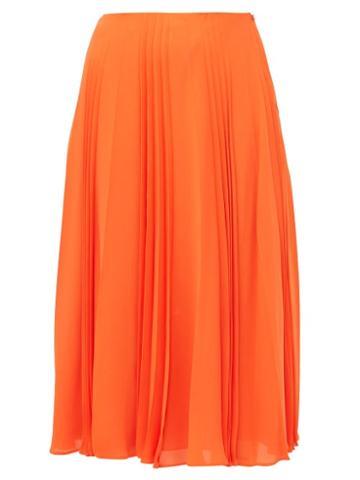 Matchesfashion.com Valentino - Pleated Silk Georgette Midi Skirt - Womens - Orange