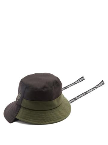 Matchesfashion.com Jw Anderson - Asymmetric Recycled-canvas Bucket Hat - Mens - Black Multi
