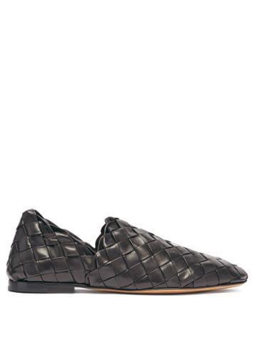 Matchesfashion.com Bottega Veneta - The Slipper Intrecciato Leather Loafers - Mens - Black