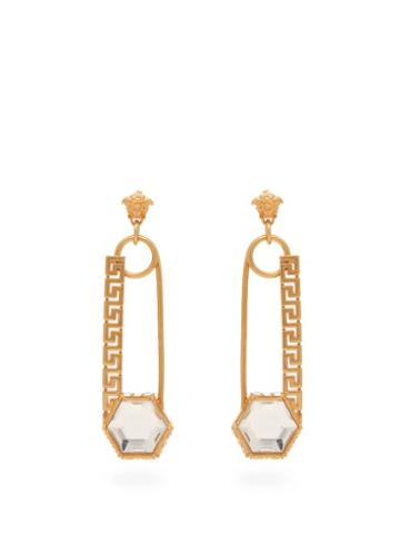 Matchesfashion.com Versace - Crystal Embellished Safety Pin Drop Earrings - Womens - Gold