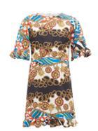 Matchesfashion.com Rhode - Hailey Chain Print Cotton Voile Mini Dress - Womens - Cream Multi
