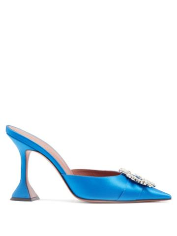 Matchesfashion.com Amina Muaddi - Begum Crystal-embellished Satin Mules - Womens - Blue
