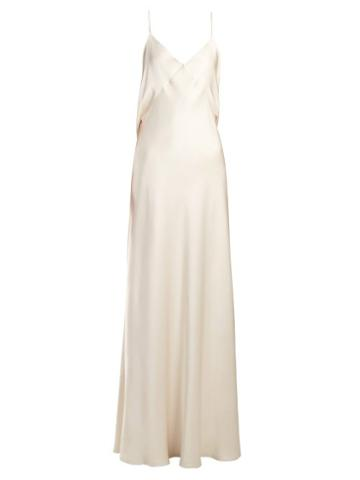 Matchesfashion.com The Row - Draped Back Silk Slip Gown - Womens - Cream