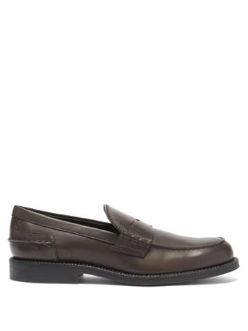 Tod's - Leather Penny Loafers - Mens - Dark Brown