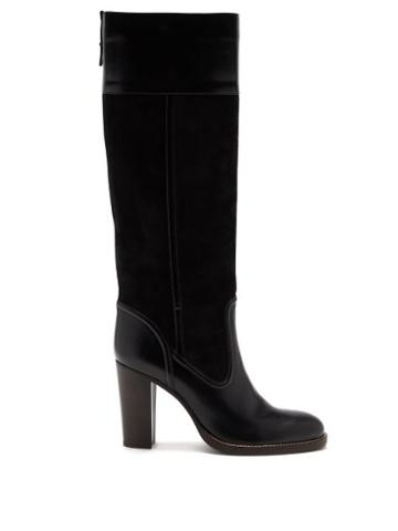 Matchesfashion.com Chlo - Block-heel Stretch-suede And Leather Boots - Womens - Black