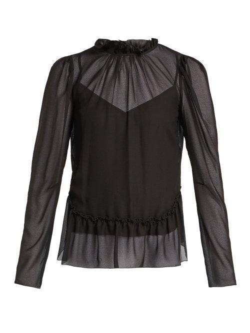Matchesfashion.com See By Chlo - Ruffled Georgette Peplum Blouse - Womens - Black