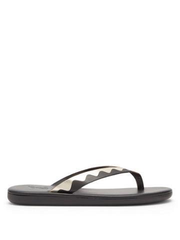 Matchesfashion.com Ancient Greek Sandals - Ammos Leather Flip Flops - Womens - Black Gold