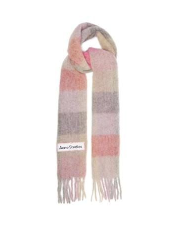 Acne Studios - Vally Striped Alpaca-blend Scarf - Womens - Pink Multi