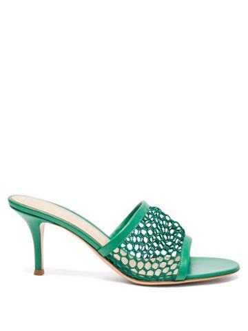 Matchesfashion.com Gianvito Rossi - Jamaica 70 Crochet-mesh Leather Mules - Womens - Green