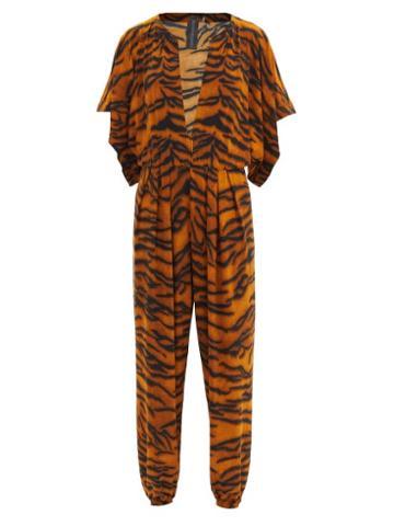 Matchesfashion.com Norma Kamali - V-neck Tiger-print Jersey Jumpsuit - Womens - Animal