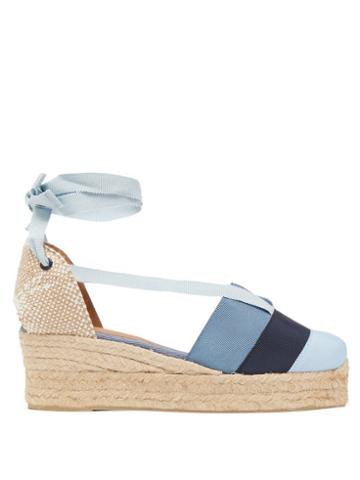 Matchesfashion.com Castaer - Coqui 30 Canvas And Grosgrain Wedges - Womens - Blue Multi