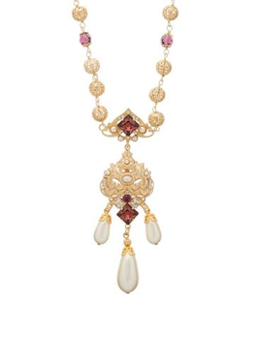 Matchesfashion.com Dolce & Gabbana - Crystal And Faux Pearl Embellished Drop Necklace - Womens - Purple