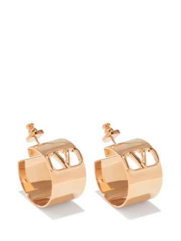 Valentino Garavani - V-logo Cutout Hoop Earrings - Womens - Gold