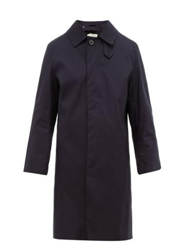 Matchesfashion.com Mackintosh - Rubberised Cotton Gabardine Trench Coat - Mens - Navy