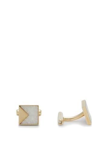 Matchesfashion.com Ioanna Souflia X Ysa - Gold And Marble Squared Cufflinks - Mens - Gold Multi