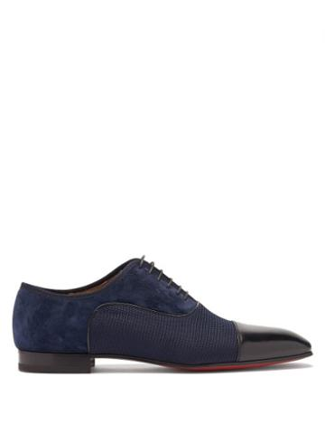 Matchesfashion.com Christian Louboutin - Greggo Panelled Leather And Suede Oxford Shoes - Mens - Navy