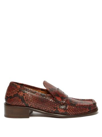 Matchesfashion.com By Far - Britney Python Effect Leather Loafers - Womens - Python