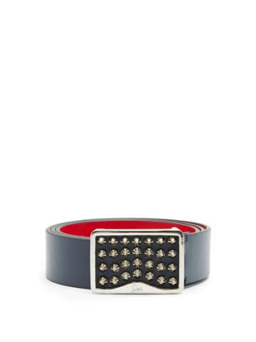 Matchesfashion.com Christian Louboutin - Louis Spiked-buckle Leather Belt - Mens - Navy Multi