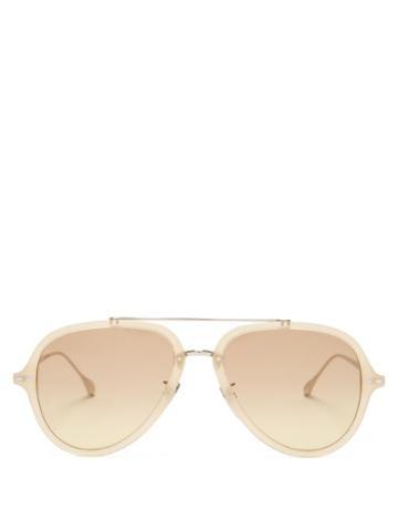 Matchesfashion.com Isabel Marant Eyewear - Windsor Aviator Acetate Sunglasses - Womens - Light Yellow