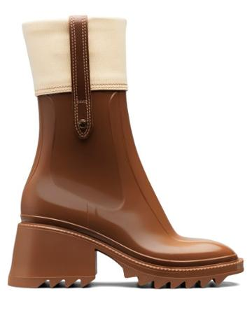 Matchesfashion.com Chlo - Betty Block-heel Rubber Boots - Womens - Brown