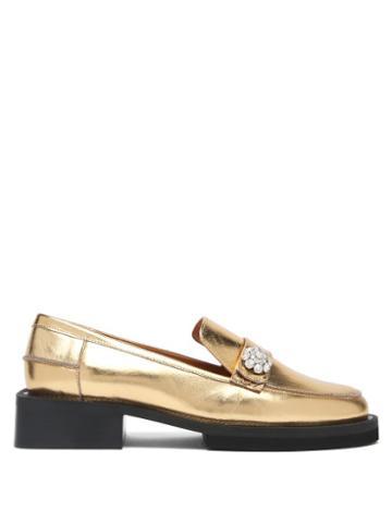 Matchesfashion.com Ganni - Crystal-embellished Metallic-leather Loafers - Womens - Gold