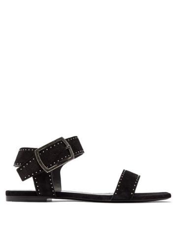 Matchesfashion.com Saint Laurent - Oak Studded Suede Sandals - Womens - Black