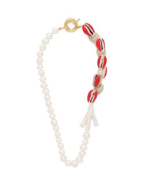 Matchesfashion.com Timeless Pearly - Pearl And Shell Necklace - Womens - White