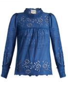 Sea Pleated Broderie-anglaise Cotton Top