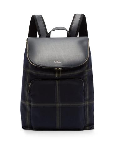 Matchesfashion.com Paul Smith - Checked Wool Blend And Leather Backpack - Mens - Blue