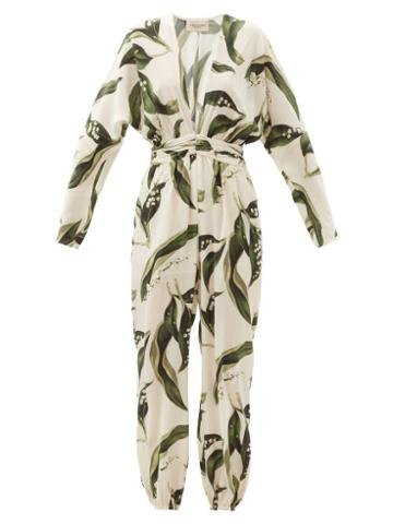 Matchesfashion.com Adriana Degreas - Floral-print Plunge-neck Silk Jumpsuit - Womens - Cream Print