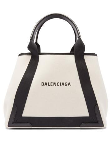 Balenciaga - Cabas Logo-print Leather-trim Canvas Tote Bag - Womens - Black Cream