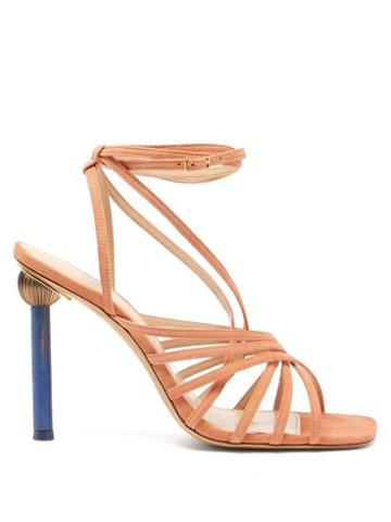 Matchesfashion.com Jacquemus - Pisa Mismatched Heel Suede Sandals - Womens - Nude