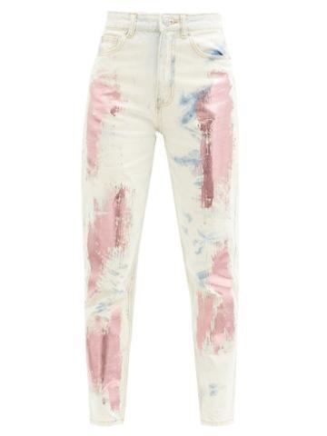 Matchesfashion.com Germanier - Metallic-paint High-rise Slim-leg Jeans - Womens - Denim Multi