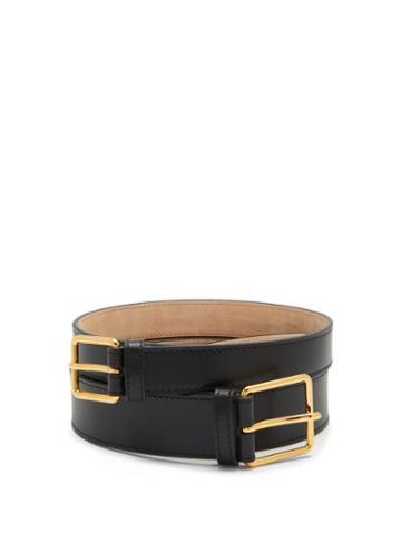 Matchesfashion.com Alexander Mcqueen - Double-strap Leather Belt - Womens - Black