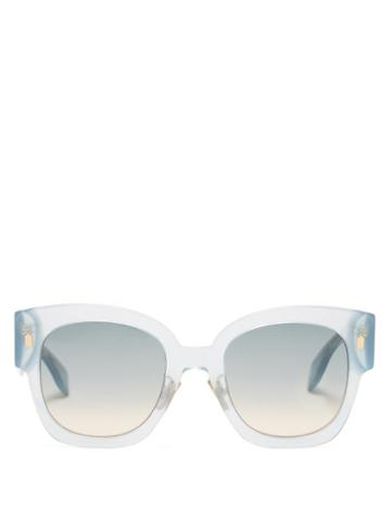 Matchesfashion.com Fendi - Fendi Roma Square Acetate Sunglasses - Womens - Light Blue