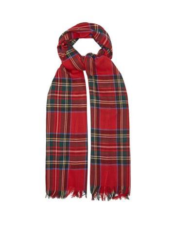 Matchesfashion.com Johnstons Of Elgin - Fringed Tartan Wool Scarf - Womens - Red Multi