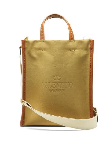 Matchesfashion.com Valentino Garavani - Logo-debossed Leather And Canvas Tote Bag - Mens - Khaki