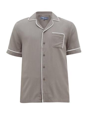Matchesfashion.com Frescobol Carioca - Camp Collar Piped Faille Shirt - Mens - Grey