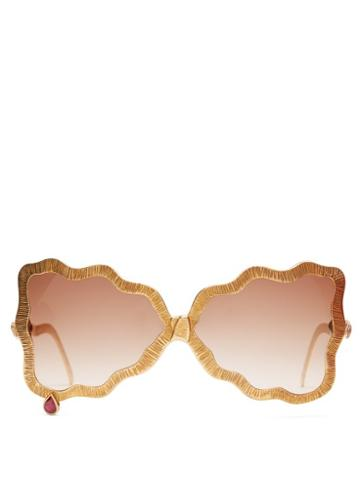 Matchesfashion.com Francis De Lara - Teardrop Ruby, Amethyst & Gold Plated Sunglasses - Womens - Gold