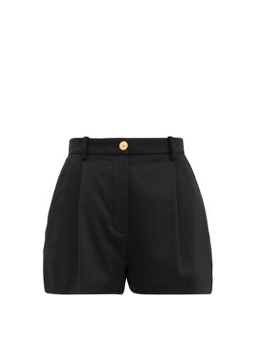 Matchesfashion.com Versace - Pleated-front Wool-blend Shorts - Womens - Black