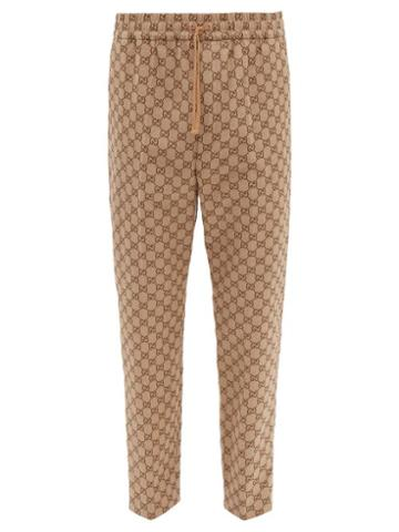 Matchesfashion.com Gucci - Gg Jacquard Cotton Blend Trousers - Mens - Brown